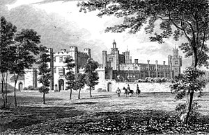 De Vere Theobalds Estate - The Palace of Theobalds in the 17th century. Artists impression. (This image is arguably Nonesuch Palace and incorrectly attributed as Theobalds)