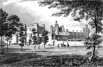 Theobalds House - The Palace of Theobalds in the 17th century. Artists impression. (This image is arguably Nonsuch Palace and incorrectly attributed as Theobalds)