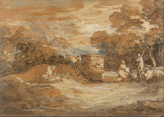 Mountain Landscape with Figures, Sheep and Fountain