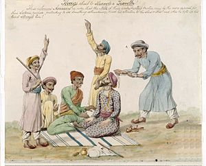 Thuggee and Dacoity Suppression Acts, 1836–48 - A watercolour by an unknown Indian artist from the early 19th century purporting to show a group of thugs in the process of distracting a traveller on a highway in India while he is about to be strangled with a ligature.