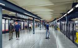 Rendering of widened platform at Times Square