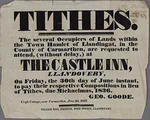 Tithe - Public notice demanding payment due on Tithes, 1837