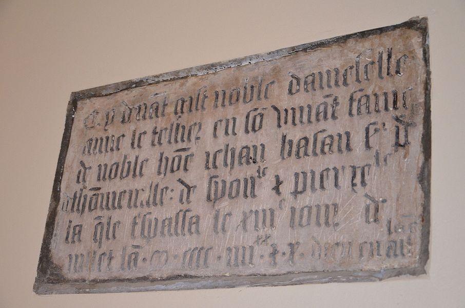 Plaque funéraire d'Anne Le Tellier, en l'église Saint-Martin de Tonneville.