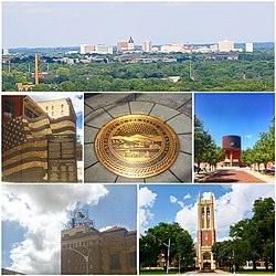 Clockwise, from top: skyline from Burnett's Mound; Kansas Avenue Veteran's Memorial; Tribute to the State of Kansas; Topeka & Shawnee County Public Library; Jayhawk Tower; Topeka High School
