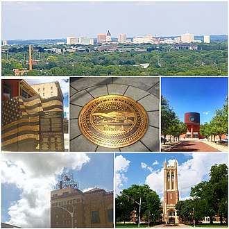 Topeka, Kansas - Clockwise, from top: skyline from Burnett's Mound; Kansas Avenue Veteran's Memorial;  Tribute to the State of Kansas; Topeka & Shawnee County Public Library;