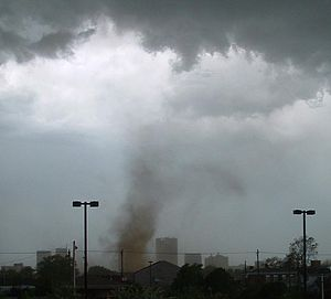 Tornado preparedness - A tornado with no obvious funnel from the upper clouds, although the rotating dust cloud indicates strong winds at the surface.
