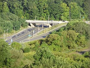 Cancelled expressways in Toronto - Part of Don Valley Parkway / Bloor off-ramp as it crosses Bayview Avenue in the Don Valley. Looking north along Bayview.