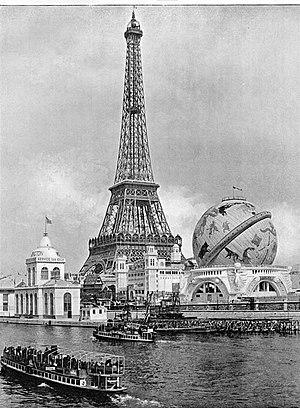 Globe Céleste - Photo across the Seine of the Globe Céleste beside the Eiffel Tower.
