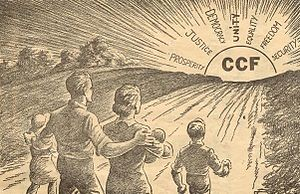 "Saskatchewan New Democratic Party - ""Towards the Dawn!"" – 1930s promotional image for Saskatchewan's Cooperative Commonwealth Federation"