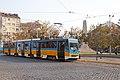 Tram in Sofia near Russian monument 073.jpg