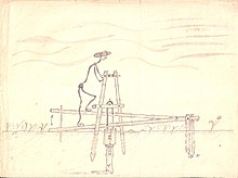 A sketch of a treadle pump .