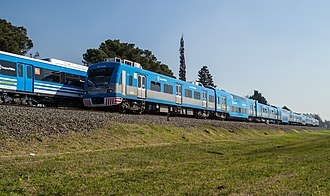 Sarmiento Line - In 2014 the Toshiba rolling stock (foreground) was replaced by CSR EMUs (background).