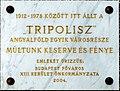 Tripolisz plaque (Budapest-13 Tomori u 5).jpg