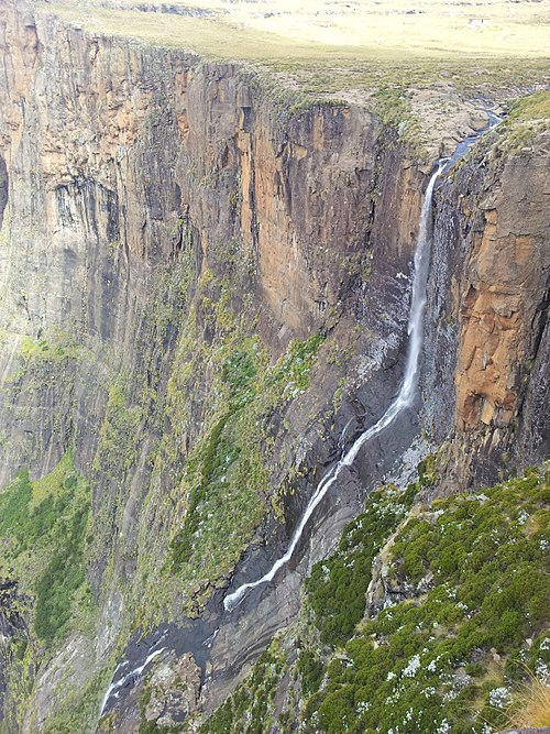 Tugela falls as it flows off the escarpment showing the first drop and cascade