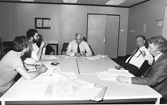 Turing Institute - Turing Institute Board Meeting 1984. Left to right: Peter Mowforth, Tim Niblett, Lord Balfour, Donald Michie, and Jim Alty.
