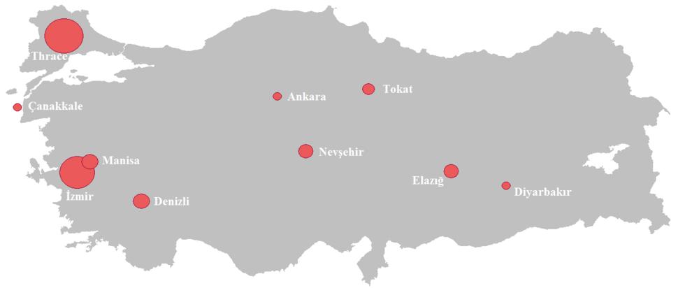 Turkish wine regions map