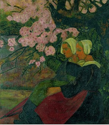 Two Breton Women under an Apple Tree in Flower 1892 Paul Serusier.jpg