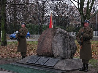 Canada–Poland relations - The Two Rocks monument at the Canadian embassy in Warsaw, Poland, commemorating the Canadian and Polish soldiers who fought side-by-side during the Second World War