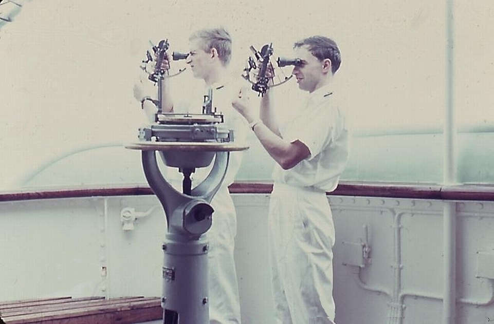 Two ship's officers 'shoot' in one morning with the sextant, the sun altitude