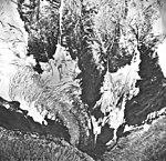 Tyeen Glacier, three branches of tidewater glacier, hanging glacier and glacial remnents, September 17, 1966 (GLACIERS 5925).jpg