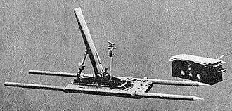 Type 11 70 mm infantry mortar - Type 11 infantry mortar with carrying handles