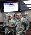 U.S. Army Maj. Gen. Myles Deering, left, the adjutant general of Oklahoma, briefs Gen. Frank J. Grass, the chief of National Guard Bureau, in Oklahoma City May 28, 2013, on the recovery effort in Moore, Okla 130528-Z-VF620-4304.jpg