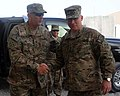 U.S. Army Maj. Gen. Paul J. Lacamera, right, the commanding general of Regional Command South and the 4th Infantry Division, welcomes Chief of Staff of the Army Gen. Raymond T. Odierno to Kandahar Airfield 130807-A-VM825-002.jpg