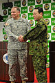 U.S. Army Pacific Commander Lt. Gen. Francis Wiercinski and Middle Army Commander of the Japan Ground Self-Defense Force Lt. Gen. Ryuichiro Arakawa shake hands during the bilateral news conference for Yama 120130-A-LT616-001.jpg