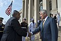 U.S. Defense Secretary Chuck Hagel, right, greets Djiboutian President Ismail Omar Guelleh before an honor cordon at the Pentagon, May 7, 2014 140507-D-BBW835-005a.jpg