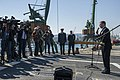 U.S. Navy Cmdr. Andrew Biehn, right, the commanding officer of the guided missile destroyer USS Truxtun (DDG 103) holds a press conference following a multilateral exercise with Romania and Bulgaria in Varna 140314-N-EI510-032.jpg