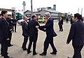 U.S. Secretary of State John Kerry is greeted by John Roos, the U.S. Ambassador to Japan, after arriving at Haneda International Airport in Tokyo, Japan, on April 14, 2013.jpg