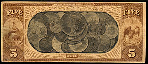 National gold bank note - Image: US NBN CA San Francisco 1741 1870 5 6758 B (reverse only)