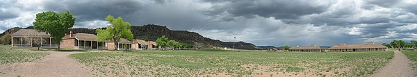 A color photograph of the Fort Davis drill ground in panoramic view