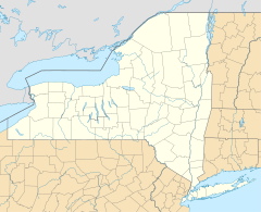 A map of New York showing the location of John Boyd Thacher State Park