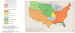 Platte Purchase - The United States in 1820. The graphic shows the straight line western border of Missouri. The Missouri Compromise prohibited slavery in the Unorganized Territory (dark green) and permitted it in Missouri (yellow).