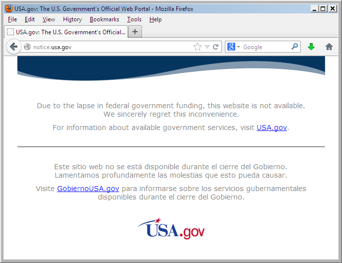 USA shutdown notice