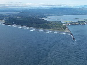 Cape Disappointment (Washington) - Aerial view of Cape Disappointment. View is to the northeast.