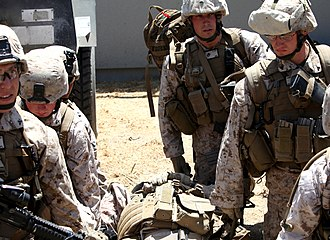 4th Marine Division (United States) - Marines of the 4th Division prepare to move a simulated casualty to a helicopter at Camp Pendleton