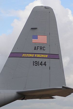 96th Airlift Squadron - C-130H showing the squadrons Flying Vikings banner
