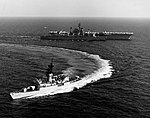 USS Badger (FF-1071) turns away after refueling from USS Sacramento (AOE-1) in the Pacific Ocean on 16 March 1978.jpg