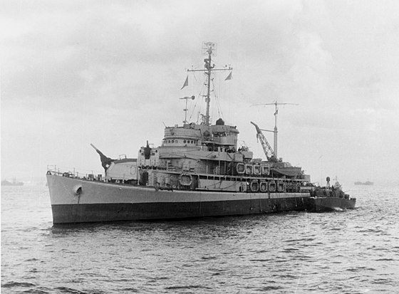Rear Adm. Lowry's flagship, amphibious command ship Biscayne, anchored off Anzio USS Biscayne (AVP-11) at Anzio.jpg