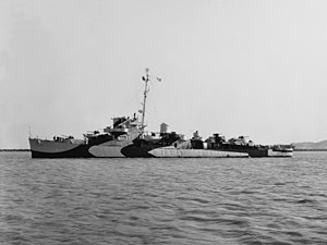 USS Griswold (DE-7) off the Mare Island Naval Shipyard on 23 May 1944 (NH 83877)