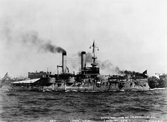 USS Iowa (BB-4) - The newly built USS Iowa (BB-4) in New York Harbor in 1898