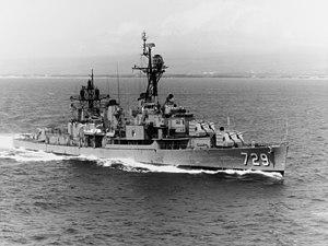 USS Lyman K. Swenson (DD-729) underway off Oahu on 16 March 1970 (NH 96968)