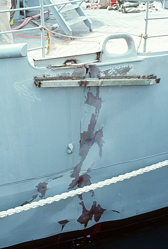 USS Princeton (CG-59) - A hull crack caused by the mine that detonated underneath Princeton.