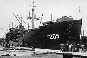 USS Sherburne (APA-205) moored pierside at Yokohama, Japan in September 1945.