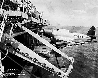USS Wasp (CV-7) - Wasp was the first carrier fitted with a deck edge elevator.