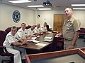 US Navy 040427-N-5477D-010 Master Chief Navy Counselor David Flake, Naval Reserve Forces Command, standing, presents advancement training for Navy Reserve Force 2004 Sailor of the Year finalists.jpg
