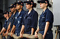 US Navy 060606-N-5549O-014 Sailors from the Nimitz-class aircraft carrier USS Ronald Reagan's (CVN 76) deck department listen to instructions prior to heaving a mooring line during a sea and anchor detail.jpg