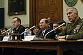 US Navy 070301-N-3642E-145 Secretary of the Navy (SECNAV) the Honorable Dr. Donald C. Winter, Chief of Naval Operations (CNO) Adm. Mike Mullen and Commandant of the Marine Corps Gen. James T. Conway appear before the House Arme.jpg